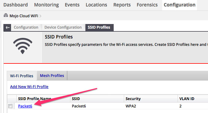 Selecting the SSID profile