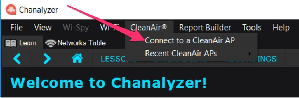 Connecting Chanalyzer to CleanAir