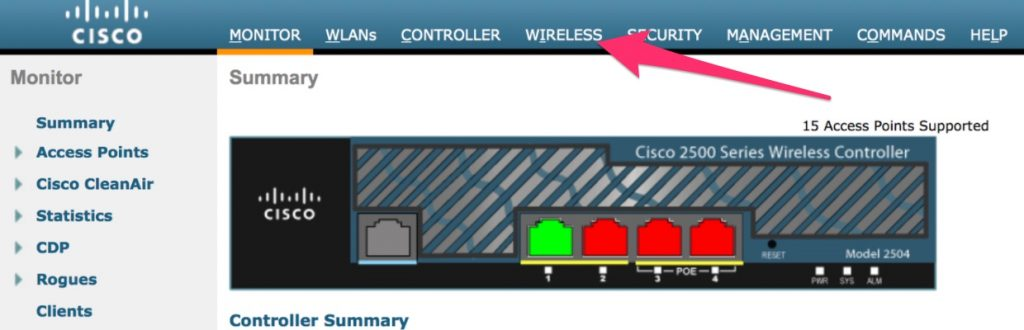 Selecting Wireless in the Cisco WLC